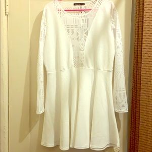 boohoo white skater dress with geometric panels